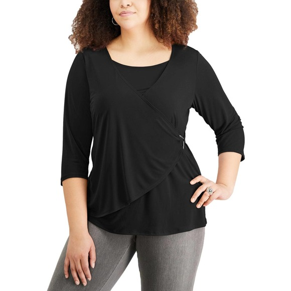 NY Collection Tops - Black 3/4 Sleeve Wrap-Front Top 1X
